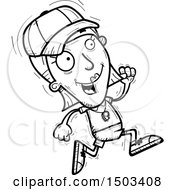 Clipart Of A Black And White Running White Female Coach Royalty Free Vector Illustration