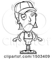 Clipart Of A Black And White Sad White Female Coach Royalty Free Vector Illustration