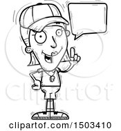 Clipart Of A Black And White Talking White Female Coach Royalty Free Vector Illustration