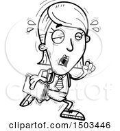 Clipart Of A Black And White Tired Running White Female College Student Royalty Free Vector Illustration