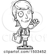 Clipart Of A Black And White Waving White Female College Student Royalty Free Vector Illustration