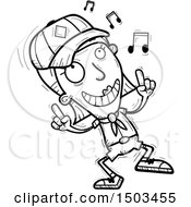 Clipart Of A Black And White White Female Scout Doing A Happy Dance Royalty Free Vector Illustration