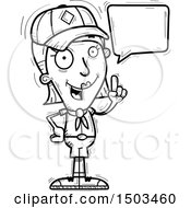 Clipart Of A Black And White Talking White Female Scout Royalty Free Vector Illustration