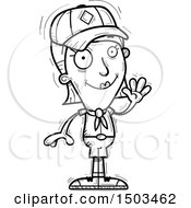 Clipart Of A Black And White Waving White Female Scout Royalty Free Vector Illustration