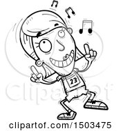 Clipart Of A Black And White White Female Track And Field Athlete Doing A Happy Dance Royalty Free Vector Illustration