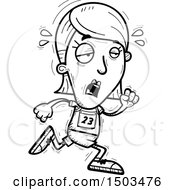 Clipart Of A Black And White Tired Running White Female Track And Field Athlete Royalty Free Vector Illustration
