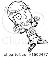 Clipart Of A Black And White Jumping White Female Track And Field Athlete Royalty Free Vector Illustration
