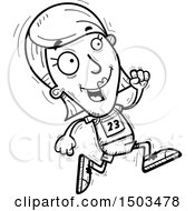 Clipart Of A Black And White Running White Female Track And Field Athlete Royalty Free Vector Illustration