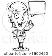 Clipart Of A Black And White Talking White Female Track And Field Athlete Royalty Free Vector Illustration