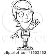 Clipart Of A Black And White Waving White Female Track And Field Athlete Royalty Free Vector Illustration