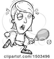 Clipart Of A Black And White Tired Running Woman Tennis Player Royalty Free Vector Illustration
