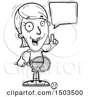 Clipart Of A Black And White Talking Woman Tennis Player Royalty Free Vector Illustration