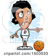 Clipart Of A Mad Pointing Black Female Basketball Player Royalty Free Vector Illustration