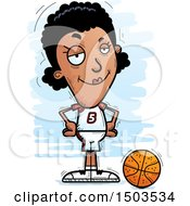 Clipart Of A Black Female Basketball Player Royalty Free Vector Illustration