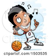 Clipart Of A Black Female Basketball Player Doing A Happy Dance Royalty Free Vector Illustration