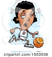 Clipart Of A Tired Running Black Female Basketball Player Royalty Free Vector Illustration