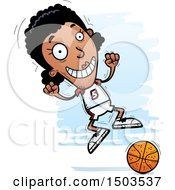 Clipart Of A Jumping Black Female Basketball Player Royalty Free Vector Illustration