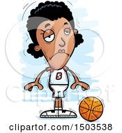 Clipart Of A Sad Black Female Basketball Player Royalty Free Vector Illustration