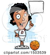 Clipart Of A Talking Black Female Basketball Player Royalty Free Vector Illustration