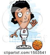 Clipart Of A Waving Black Female Basketball Player Royalty Free Vector Illustration