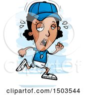 Clipart Of A Tired Running Black Female Coach Royalty Free Vector Illustration