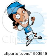 Clipart Of A Jumping Black Female Coach Royalty Free Vector Illustration