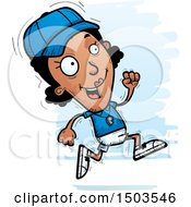 Clipart Of A Running Black Female Coach Royalty Free Vector Illustration