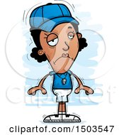 Clipart Of A Sad Black Female Coach Royalty Free Vector Illustration