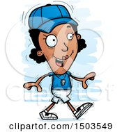 Clipart Of A Walking Black Female Coach Royalty Free Vector Illustration