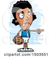 Clipart Of A Mad Pointing Black Female Football Player Royalty Free Vector Illustration