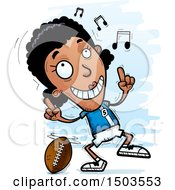 Clipart Of A Black Female Football Player Doing A Happy Dance Royalty Free Vector Illustration