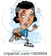 Clipart Of A Tired Running Black Female Football Player Royalty Free Vector Illustration