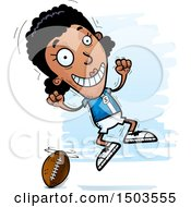 Clipart Of A Jumping Black Female Football Player Royalty Free Vector Illustration