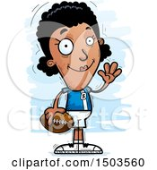 Clipart Of A Waving Black Female Football Player Royalty Free Vector Illustration