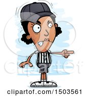 Clipart Of A Mad Pointing Black Female Referee Royalty Free Vector Illustration by Cory Thoman