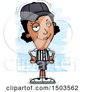 Clipart Of A Confident Black Female Referee Royalty Free Vector Illustration by Cory Thoman