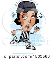 Clipart Of A Tired Running Black Female Referee Royalty Free Vector Illustration by Cory Thoman