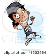 Clipart Of A Jumping Black Female Referee Royalty Free Vector Illustration