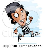 Clipart Of A Running Black Female Referee Royalty Free Vector Illustration by Cory Thoman