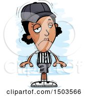 Clipart Of A Sad Black Female Referee Royalty Free Vector Illustration by Cory Thoman