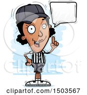 Clipart Of A Talking Black Female Referee Royalty Free Vector Illustration by Cory Thoman