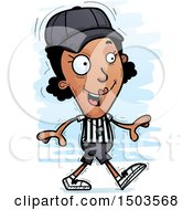 Clipart Of A Walking Black Female Referee Royalty Free Vector Illustration