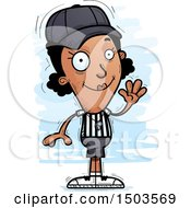 Clipart Of A Waving Black Female Referee Royalty Free Vector Illustration