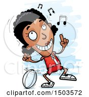 Clipart Of A Black Female Rugby Player Doing A Happy Dance Royalty Free Vector Illustration