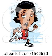 Clipart Of A Tired Running Black Female Rugby Player Royalty Free Vector Illustration