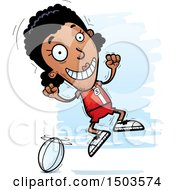 Clipart Of A Jumping Black Female Rugby Player Royalty Free Vector Illustration