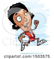 Clipart Of A Running Black Female Rugby Player Royalty Free Vector Illustration