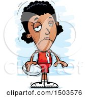 Clipart Of A Sad Black Female Rugby Player Royalty Free Vector Illustration