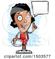 Clipart Of A Talking Black Female Rugby Player Royalty Free Vector Illustration