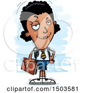 Clipart Of A Confident Black Female College Student Royalty Free Vector Illustration